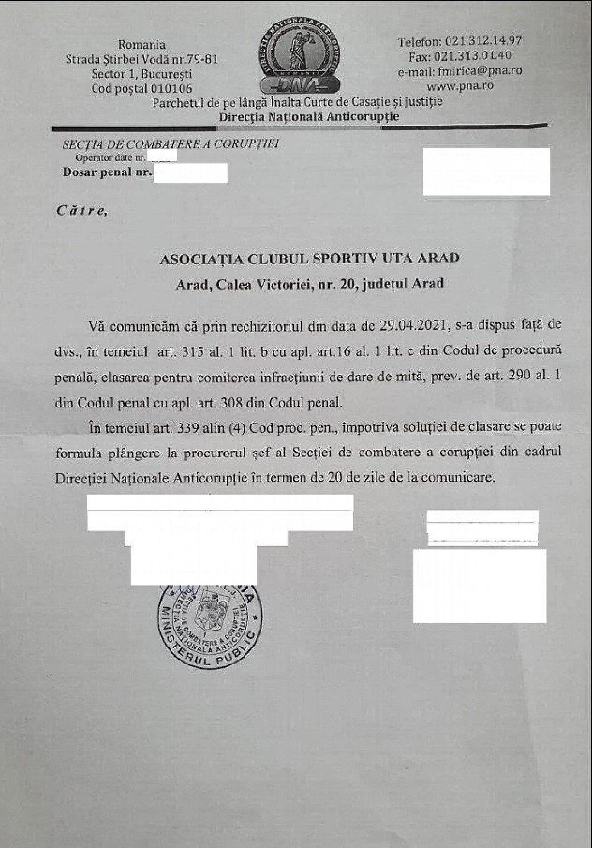 Imagine Comunicat UTA Arad 12 mai 2021