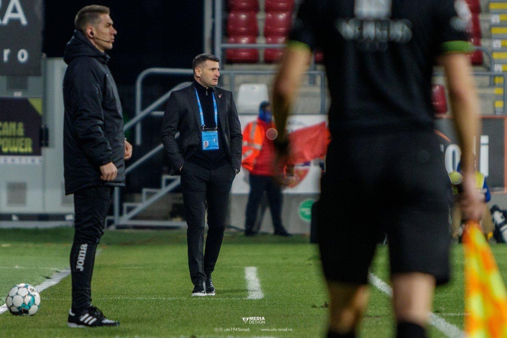 Imagine Laszlo Balint după victoria UTA-ei la Dinamo, în play-out