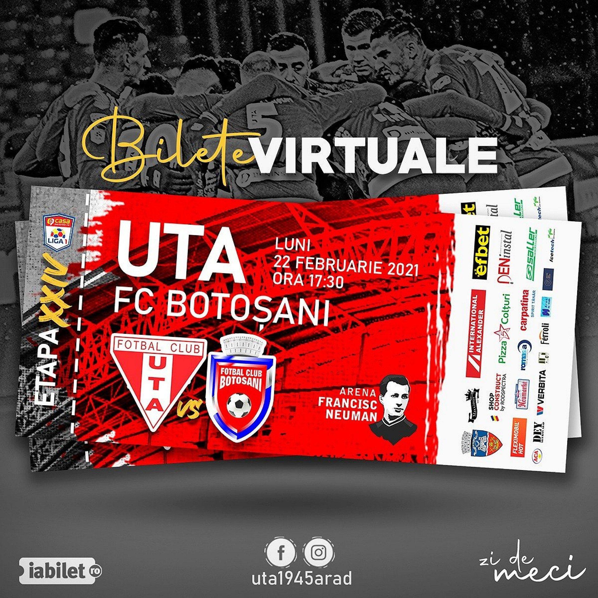 Imagine Bilete virtuale pentru meciul UTA - FC Botoşani!