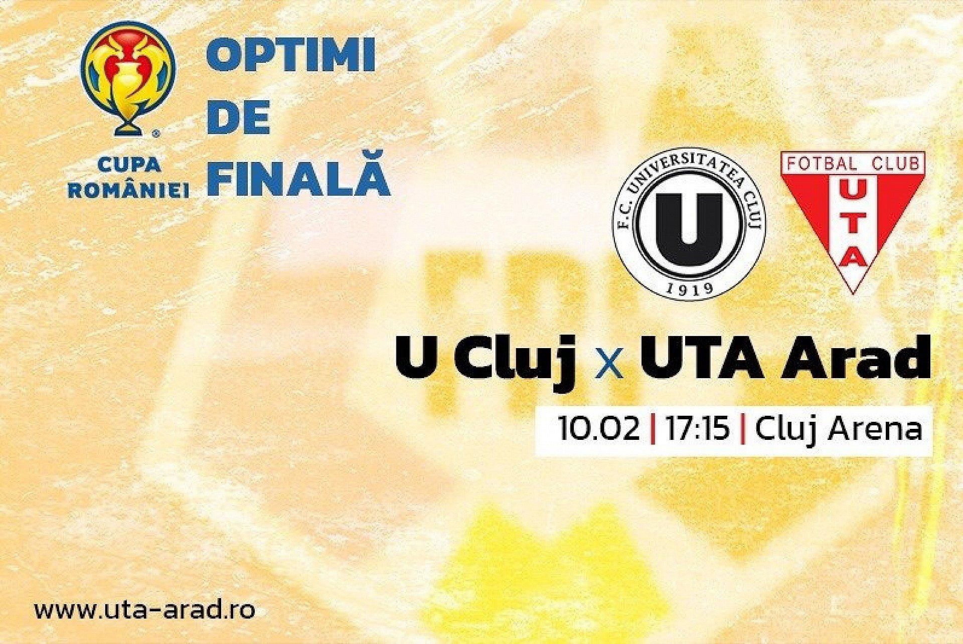 Imagine  Cupa României / Mâine, U Cluj – UTA + Conferință Alexandru Meszar și Adrian Petre